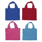 Mini Woven Tote Bags, Canvas, Assorted Colors, 6 x 5 Inches, Set of 4