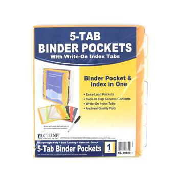 C-Line, 5-Tab Binder Pockets W/ Write-On Tabs, Assorted Colors, 5 per set