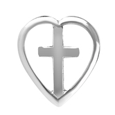 H.J. Sherman, Heart with Cross Lapel Pin, Silver Plated, 1/2 x 1/2 inches