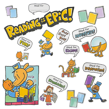 Scholastic, Dog Man Reading Is Epic Bulletin Board Set, 51 Pieces