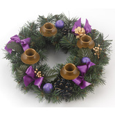 Vermont Christmas Co., Purple Ribbon Advent Wreath, 11 inches