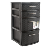 Sterilite, 4 Drawer Weave Tower, Black, 15 x 12 1/2 x 24 inches