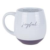 Lighthouse Christian, Joyful Scripture Ceramic Mug, Kraft Gift Box, Textured White, Purple, 16 Oz