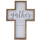 Matthew 18:20 Wood Wall Cross Décor, White, Brown, Grey, 10.19 x 13.94 x 1 Inch