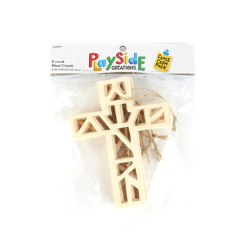 Playside Creations, Wood Laser Cut Crosses, Natural, 8 Count
