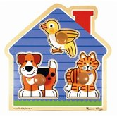 Melissa & Doug, House Pets Jumbo Knob Wooden Puzzle, Ages 12 Months and Older, 3 Pieces