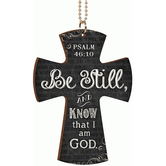 Be Still And Know Cross Car Charm