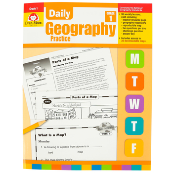 Evan-Moor, Daily Geography Practice Teacher's Edition, Paperback, 160 Pages, Grade 1