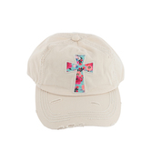 K&B Trading, Floral Cross, Adjustable Distressed Cap, Cream
