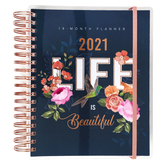 Christian Art Gifts, Life Is Beautiful 18 Month Wirebound 2021 Planner, Plastic Cover, Navy, 248 Pages