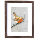 Orange Winter Bird Framed Wall Decor, Plastic, Brown, 14 x 11 x 1 3/16 inches