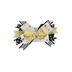 Brother Sister Design Studio, Stacked Bow Headband, Polyester, Gold and Black, 7 x 4 1/2 inches