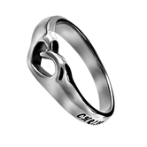 Spirit and Truth, Christ Lives in Me,  Mini Heart Ring, Silver Plated, Sizes 5-9