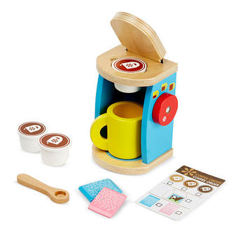 Melissa & Doug, Wooden Brew and Serve Coffee Set, Ages 3 to 6 Years Old, 11 Pieces