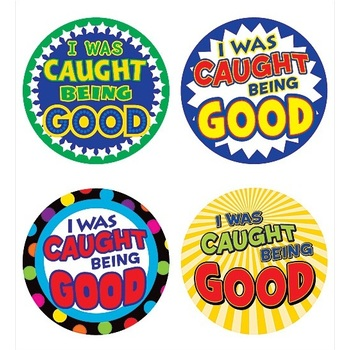Teacher Created Resources, I Was Caught Being Good Wear 'Em Badges, 2.38 Inches, Pack of 32