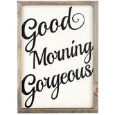 Good Morning Gorgeous Framed Art, Cream and Black, 10 3/4 x 14 1/4 inches