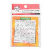 The Brainery, Cursive Alphabet Chart Mini Sticker Chart, 3 x 3.5 Inches, Multi-Colored, Pack of 24