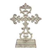 Ornate Table Top Cross, Metal, Antique White and Brown, 11 x 7-1/2 x 2-1/4 Inches