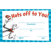 Eureka, Dr. Seuss Hats Off to You! Awards, 8.5 x 5.5 Inches, Pack of 36