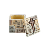 Roman, Inc., Inspirational Words Prayer Cube, Resin, Stone Colored, 2 x 2 inches