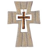 Stone Texture Cross with Mini Cross Wall Decor, Resin, Cream, 8 x 5 5/8 x 5/16 inches