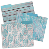 Renewing Minds, Weathered Wood File Folders, 3 Assorted Designs, Grey, Turquoise, Teal, 12 Count