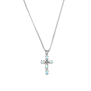 H.J. Sherman, Opal Cross Pendant Necklace, Sterling Silver, 18 inches