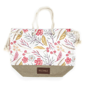 Christian Art Gifts, Blessed Drawstring Tote Bag, Canvas, Floral, 20 x 15 1/2 x 7 1/2 inches
