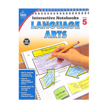 Carson-Dellosa, Interactive Notebooks Language Arts Resource Book, Reproducible Paperback, Grade 5