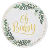 Brother Sister Design Studio, Oh Baby Small Paper Plates, White and Gold, 8 inches, Set of 10