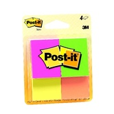 3M, Post-it Note Pads, 1.38  x 1.78 Inches, Fluorescent, 4 Pads 50 Sheets Each