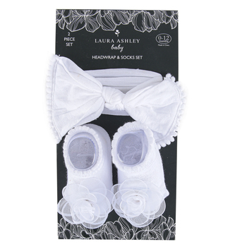 Laura Ashley, Baby Headwrap & Sock Set, White, 0-12 Months, 2 Pieces