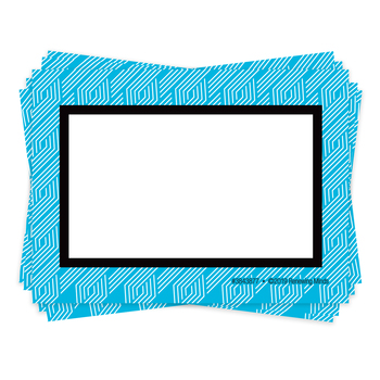 Isabella Collection, Self-Adhesive Labels, Blue Geo Braid, 3.5 x 2.5 Inches, Pack of   36