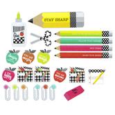 Schoolgirl Style, Black, White and Stylish Brights Stylish Supplies Mini Bulletin Board Set, Multi-Colored