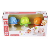 Hape, Stay-Put Rattle Set, 1 Each of 3 Designs, 3 inches Each
