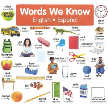Scholastic, English-Spanish Photo Word Wall Bulletin Board Set, Multi-Colored, 43 Pieces, Grades K-5