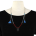 Radiant Sol, Silver Cross Beaded Wrap Necklace, Glass and Zinc Alloy, Silver, 40 Inch Slide Chain