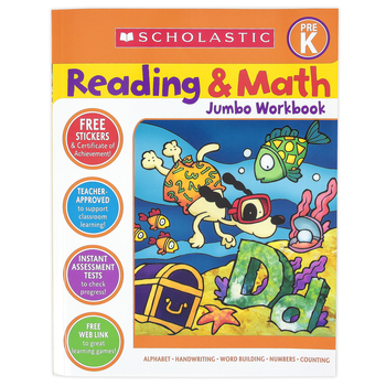 Scholastic, Reading and Math Jumbo Activity Workbook, 320 Pages, Grade Pre-K