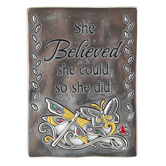 Ganz, She Believed She Could So She Did Magnet, Silver-tone, 2 x 2 3/4 inches