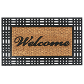Welcome Trimmed Doormat, Coir and Rubber, Black and Natural, 18 x 30 Inches