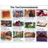 NIV 10 Commandments Illustrated Wall Chart for Kids, by Rose Publishing, Wall Chart