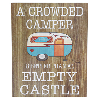 A Crowded Camper Tabletop Plaque, MDF, Brown, 8 x 10 inches