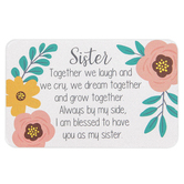 Carson Home Accents, Sister I Am Blessed Pocket Card, Plastic, 2 x 3 1/4 inches