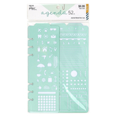 the Paper Studio, agenda 52 Planner Stencil Set, Plastic, Green, 3 Pieces