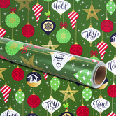 Renewing Faith, Ornament Gift Wrap, Green, 30 x 480 inches