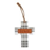 Grace Plaid Mini Wall Cross, MDF, Gray & White, 5 1/2 x 4 1/4 inches