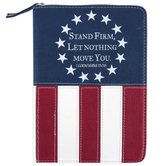 Divinity Boutique, 1 Corinthians 15:58 Stand Firm Small Zippered Journal, Faux Leather, Patriotic, 160 Pages