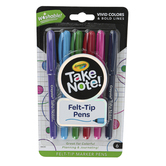 Crayola, Take Note Washable Felt Tip Pens, 1 Each of 6 Colors