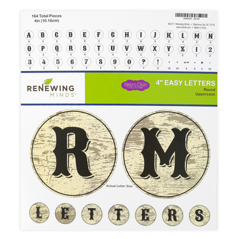 Retro Chic Collection, Round Bulletin Board Letters, Uppercase, 4 Inches, Woodgrain, 164 Pieces