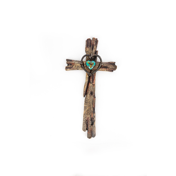 Distressed Wood with Turquoise Heart Wall Cross, Resin, 20 1/2 x 10 1/2 inches